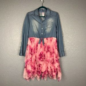 JUSTICE Chambray and Mesh Shirt Dress Pink Floral